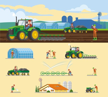 Colorful farming concept with different kinds of agricultural seasonal works and elements isolated vector illustration