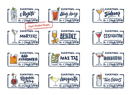 スケッチ アルコール飲み物セット書道の碑文カラフルなクラシックなカクテルや飲料の分離ベクトル図のラベル