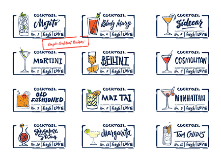 Sketch alcohol drinks labels set with calligraphic inscriptions colorful classic cocktails and beverages isolated vector illustration