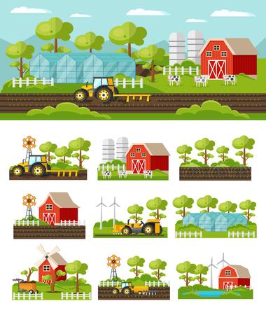 Concept d'agriculture colorée avec matériel agricole matériel de récolte grange moulin à vent animaux jardins à effet de serre jardin illustration vectorielle isolée