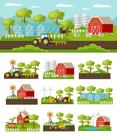 Colorful farming concept with agricultural equipment vehicles harvesting barn windmill animals greenhouse fields garden isolated vector illustration