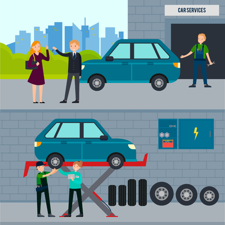 car tire: Auto and tire services horizontal banners with car repair workshop and mechanics changing wheel in garage vector illustration Illustration