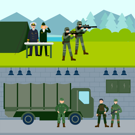 Army force horizontal banners with snipers field headquarters and soldiers on military base vector illustration