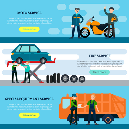 car tire: Colorful repair services horizontal banners with professional workers and vehicles in flat style vector illustration Illustration