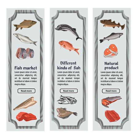 Schets gekleurde zeevruchten verticale banners met tekst en verschillende gehele vissendelen en stukken vectorillustratie