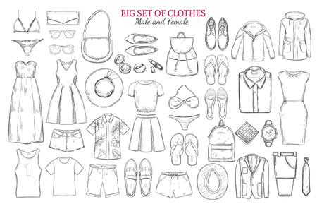 男性と女性のワードローブの要素とアクセサリー分離ベクトル イラスト スケッチ白黒服アイコンを設定します。  イラスト・ベクター素材