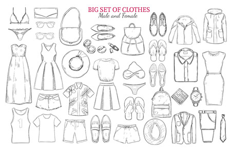 short trip: Sketch monochrome clothes icons set with male and female wardrobe elements and accessories isolated vector illustration