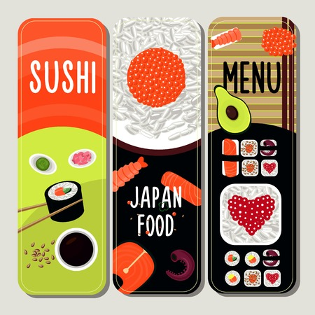 Traditional japanese food vertical banners with ingredients for sushi preparation and dish serving vector illustration Illustration