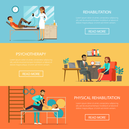 Medical therapy horizontal banners with physiotherapy physical training rehabilitation and exercises vector illustration Illustration