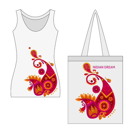 Traditional indian motif concept with beautiful paisley printing on female shirt and handbag isolated vector illustration