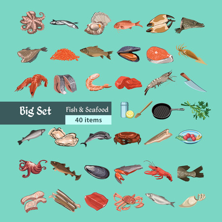 Colorful sketch natural seafood collection with marine animal and fish meat products on light background isolated vector illustration Illustration