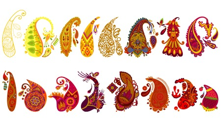 Colorful traditional elegant indian paisley collection of different shapes and styles isolated vector illustration