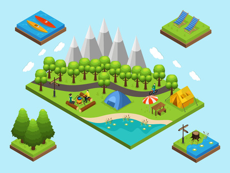 recliner: Isometric outdoor recreation and hiking composition with people camping elements and nature objects isolated vector illustration Illustration