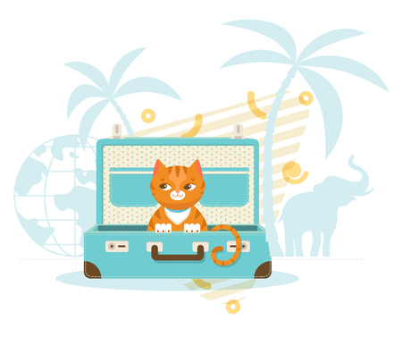 destination: Journey with pets concept of cute cat sitting in case palm trees globe and elephant silhouettes vector illustration