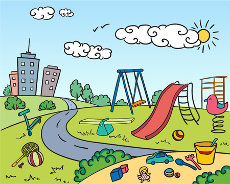 Colored children playground bright concept with attractions game equipment toys sandbox buildings in hand drawn style vector illustration Ilustração