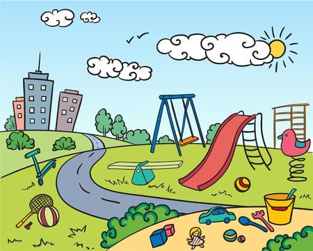 Het gekleurde heldere concept van de kinderenspeelplaats met van het het materiaalspeelgoed van het aantrekkelijkhedenenspel van de sandbox gebouwen ter beschikking getrokken de stijl vectorillustratie