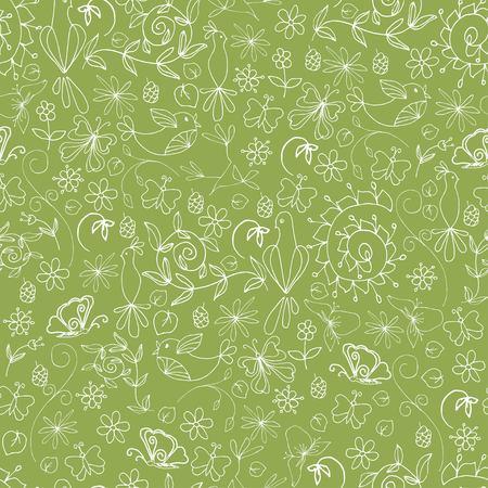 Het organische naadloze patroon van de schetszomer met witte van de bloemenbladeren van boomtakken vogelsvlinders op groene vectorillustratie als achtergrond