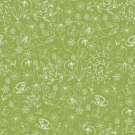 Sketch summer organic seamless pattern with white tree branches flowers leaves birds butterflies on green background vector illustration