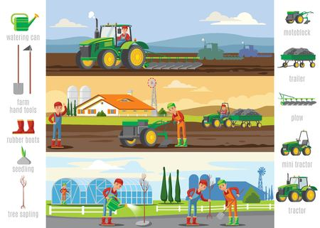 Agriculture and farming brochures with harvesting tillage tree planting watering and agricultural elements vector illustration