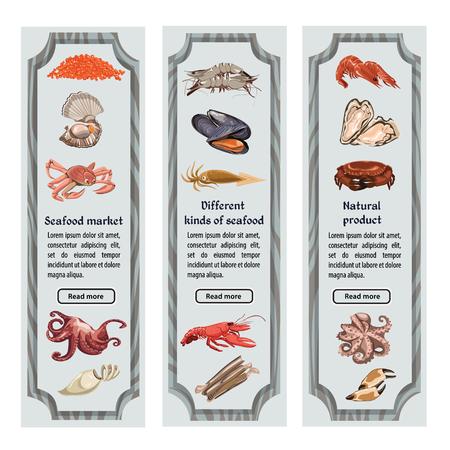カラフルなスケッチの天然魚介類の垂直バナー テキスト海と海洋動物、生き物ベクトル イラスト