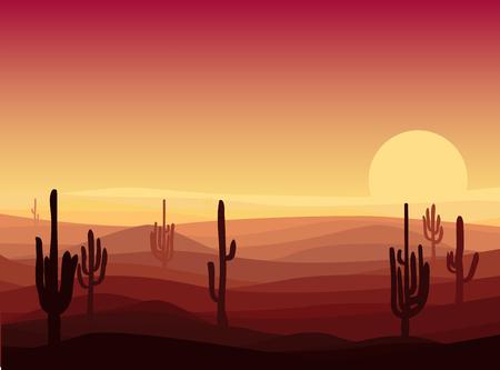 아름다운 사막 풍경 템플릿 일러스트