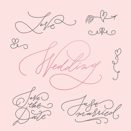 wedded: Wedding Calligraphic Letterings Set