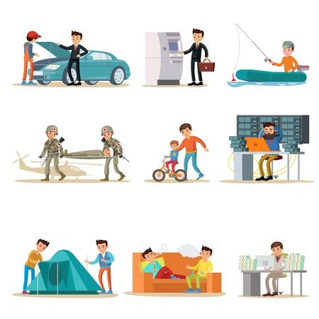 Male Characters Set Illusztráció