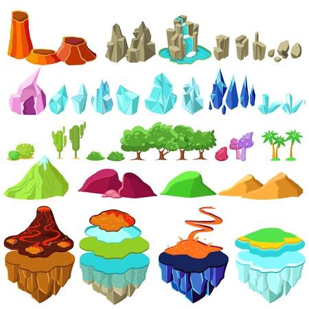 Kleurrijke Game-eilanden landschap-elementen instellen Stock Illustratie