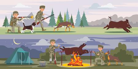 Hunting Horizontal Banners Illustration