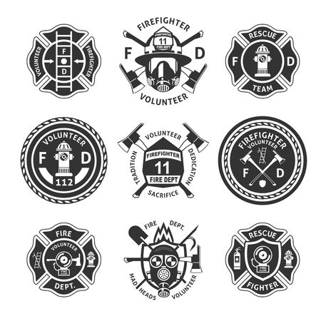 Vintage monochrome firefighting labels set with inscriptions.