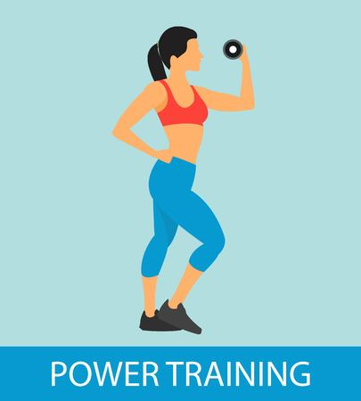 Fitness flat icon with woman doing power training with dumbbell vector illustration