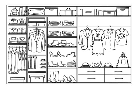 Hand drawn monochrome family wardrobe concept with male and female clothing footwear and accessories vector illustration Illustration