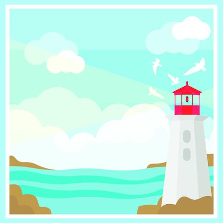 Kleurrijk oceaanlandschapsmalplaatje met silhouetten van vuurtoren de vliegende zeemeeuwen en wolken vectorillustratie