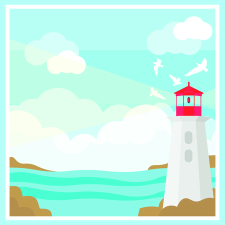 Colorful ocean landscape template with lighthouse flying seagulls silhouettes and clouds vector illustration Illustration
