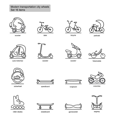 Linear modern city transport icons set with vehicles for urban transportation in monochrome style isolated vector illustration