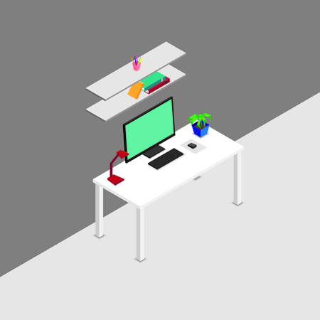 Isometric designer workplace concept with computer plant lamp on table and books stationery on shelves isolated vector illustration