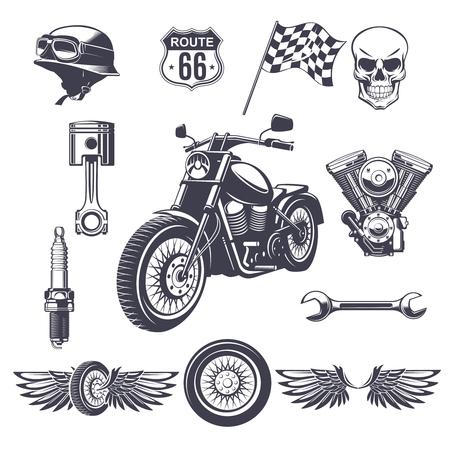 Colección de elementos de la motocicleta de la vendimia con el cráneo del casco de la moto motor llave del motor rueda alas bandera pistón bujía aislado ilustración vectorial Foto de archivo - 80337473
