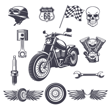 Colección de elementos de motocicleta vintage con casco de moto cráneo motor llave inglesa rueda alas bandera pistón bujía aislado ilustración vectorial