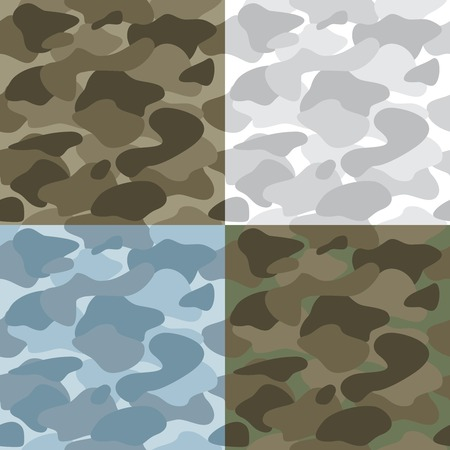 Military soldier camouflage seamless patterns set of different colors and variations vector illustration