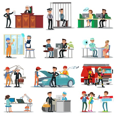 Colorful professions and occupations collection with people in different professional situations isolated vector illustration