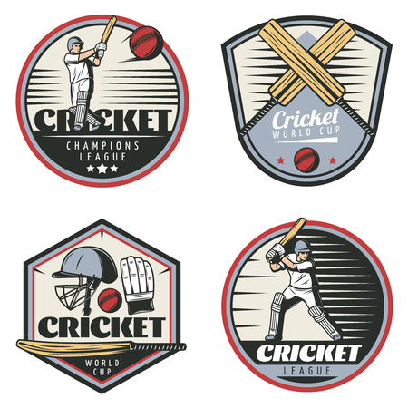 Colored vintage cricket sport emblems set with sportsmen crossed bats balls cap and glove isolated vector illustration Иллюстрация