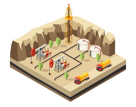 Modèle de l'industrie pétrolière isométrique avec des plates-formes de forage stockage des ressources derrick camions pour le transport dans le désert Banque d'images - 80337539