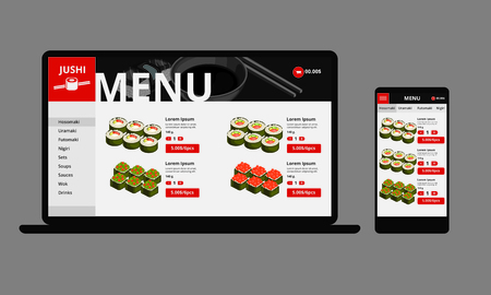 Japanese food online shop concept with sushi list of products responsive interface on laptop and mobile isolated vector illustration