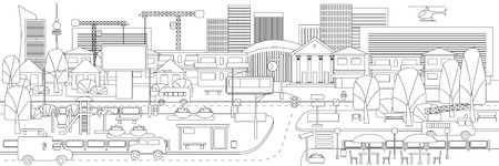 Monochrome linear cityscape concept with vehicles trees buildings road bus stop cafe billboards children playground vector illustration