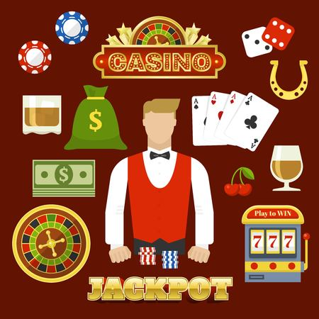 Flat Casino Elements Set vector illustration. Çizim