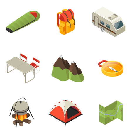 asleep: Isometric Camping Icons Collection vector illustration.