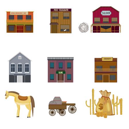 Colorful Wild West Elements Set vector illustration. Illustration