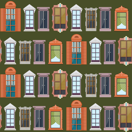Elegant exterior elements seamless pattern with detailed windows of different construction and architecture on green background vector illustration