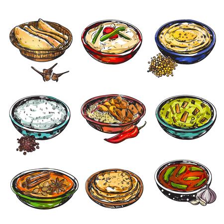 インド食材アイコン セット ベクトル イラスト。