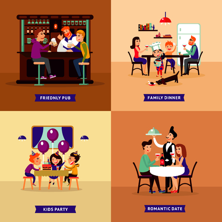 Colorful Eating People Concept vector illustration.